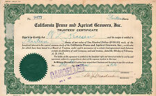1922 Stock certificate California Prune and Apricot Growers