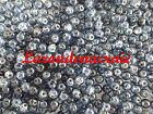200 perles en verre craquelé BLEU JEAN 4mm
