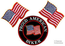Lot of 3 Proud American Biker iron-on Patch Us Flag Usa embroidered