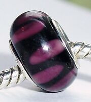 Black Purple Pattern Murano Glass Bead for Silver European Style Charm Bracelets
