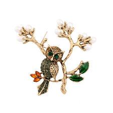 Broche Doré Branche Arbre Perle Feuille Email Vert Hibou Oiseau Original XZ6