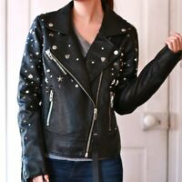 Blank NYC Studded Black Vegan Leather Moto Jacket WOMENS SIZE S SMALL NEW