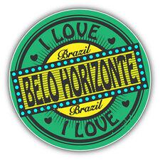 "I Love Belo Horizonte City Brazil Travel Stamp Car Bumper Sticker Decal 5"" x 5"""