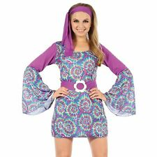 Adults Ladies 60s 70s Groovy Psychedelic Hippy Hippie Fancy Dress Costume Outfit
