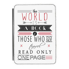 The World is a Book Reading Quote iPad Mini 1 2 3 PU Leather Flip Case Cover