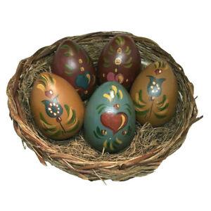 Vintage Folk Art Tole Hand Painted Wooden Eggs In Handmade Basket