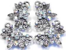 4 - 2 HOLE CUFF SLIDER BEADS CLEAR & AB CRYSTAL FLOWER, LEAVES ANTIQUED SILVER