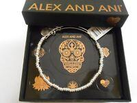 Alex and Ani Rocker Beaded Bangle Bracelet Shiny Silver NWTBC