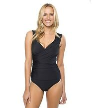 NWT Athena Women's One-Piece Black Runch Wrap Swimsuit Size 6, 8 NEW $108