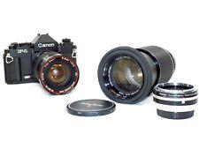 CANON F-1 35mm SLR Film Camera W/ Two Vivitar Lens' & Automatic Tele Converter