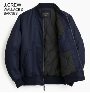 J.CREW Wallace & Barnes insulated bomber jacket MA-1 navy blue flight military