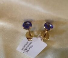 14K Yellow Gold, 1 Ct, Natural, Tanzanite Stud Earrings, Round, Butterfly