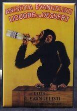 "Monkey Drinking Anissetta Evangelisti 2"" X 3"" Fridge / Locker Magnet. Italy"