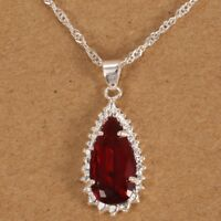 Ruby Drop Pendant Red Crystal 925 Silver Necklace Chain Jewellery Xmas Gifts