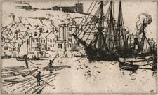 NELSON ETHELRED DAWSON Signed Etching BOATS AT WHITBY HARBOUR c1920