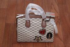 NWT Michael Kors $398 Studio Patches Mercer Duffle Handbag Natural/Luggage