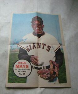 600H-1 1967 TOPPS POSTER INSERT  #12 WILLIE MAYS. SMALL TEAR UNDER GIANTS
