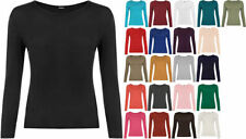 Viscose Long Sleeve Basic Tee Machine Washable T-Shirts for Women
