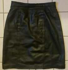 d20ef47e70 Vintage Black Lambsnappa Leather Skirt Lord & Taylor Knee Length Sexy Slit  Sz 10