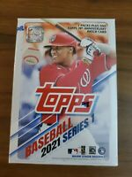 2021 TOPPS SERIES 1 BASEBALL FACTORY SEALED BLASTER BOX 7 PACKS PLUS + PATCH!!!