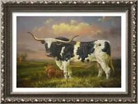 "Hand-painted Original Art Oil painting Animal Portrait cow on Canvas 24""X36"""
