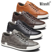Men's Leather Athletic Sneakers Breathable Trainers Sports Running Casual Shoes