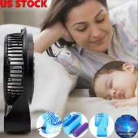 Mini Portable USB Rechargeable LED Light Fan Air Cooler Desk 18650 Battery Fan