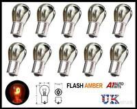 10x Chrome Silver Amber Rear Indicator Bulbs 343 Ba15s Py21w Turn Signal S25 12v