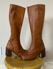 Vintage 1970s Chandlers Leather Boots Chunky Heel Women's 6 1/2