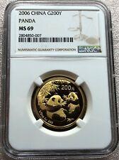 China 2006 Gold Panda 1/2 OZ 200 Yuan NGC MS 69 Free Shipping in US