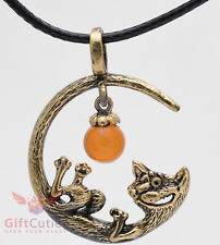 Solid Brass Amber Cat on the moon Pendant Necklaces IronWork