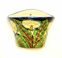 """Mexican Pottery Talavera Wall Planter, Lily Flower-7""""H x 8.75""""W."""