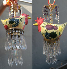 Porcelain chicken grape fruit SWAG Lamp brass crystal Kitchen Chandelier prisms