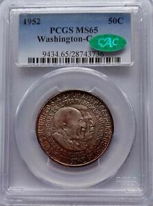 PCGS CAC Sticker 1952 WASHINGTON-CARVER Silver Half Dollar MS65 Color Toned USA*