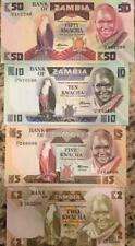 ZAMBIA 1980's  2-5-10-50 KWACHA (4) NOTE UNC BANKNOTE SET BUY FROM A USA SELLER