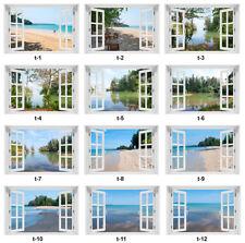 3D WANDBILD FOTOTAPETE FENSTERBLICK Palmen Meer Strand PVC oder Vlies>150 Muster