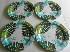 "TROPICAL  Melamine Dinner Plates 11""  Set of 4   TROPICAL FOLIAGE"
