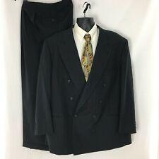 Vintage Pierre Cardin Suit 50R Black Striped Double Breasted Pants 45.5Wx30L