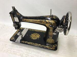 SERVICED Antique Singer Sewing Machine Sphinx Ornate Treadle Head 127 Heavy Duty