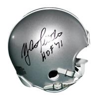 Y.A. Tittle Signed HOF '71 Riddell Silver Mini Helmet (JSA)