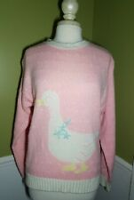 Duck Womens Sweater heart motif Pink White Messages Size L acrylic vintage 80's