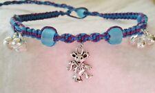 Dancing Bear Charm Hemp Bell Anklet Grateful Dead Head Ankle Bracelet Purple