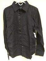 Guess Los Angeles Men's Long Sleeve Button Down Striped Dress Shirt Black Red L