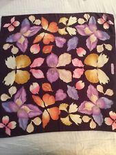 "Salvatore Ferragamo 100% Silk Multicolor Floral Butterfly Scarf, 33"" X 34""-AS IS"