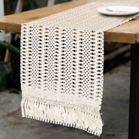 Lace Moroccan Woven Table Runner with Tassels Macrame Table Runner Party Decor