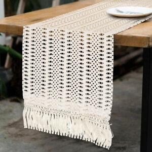 Natural Macrame Table Runner Cotton Crochet Lace Boho Wedding Home Table Decor