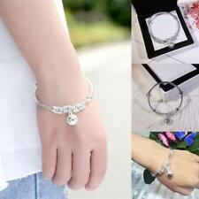Women Silver Plated Ball Pendant Palace Bell Charm Bracelet Jewelry Gifts New