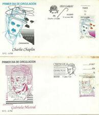 Spd Fdc First Day Cover Spain Edifil #3013-3014 Charlot, Gabriela Mistral 1989