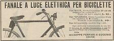 Z1367 Fanale per Biciclette Ditta Ferrari - Udine - Pubblicità d'epoca - 1909 Ad
