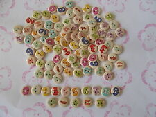100 ASSORTED WOOD BUTTONS MIXED NUMBER PATTERN SEWING-SCRAPBOOK-CRAFTS